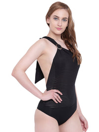 La Intimo Black Female SummerSass Monokini Resort/Beach Wear Polyester Spandex Swimwear