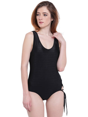 La Intimo Black Female AquaCross Monokini Resort/Beach Wear Polyester Spandex Swimwear