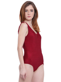 La Intimo Maroon Female AquaCross Monokini Resort/Beach Wear Polyester Spandex Swimwear