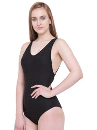 La Intimo Black Female Coast Monokini Resort/Beach Wear Polyester Spandex Swimwear