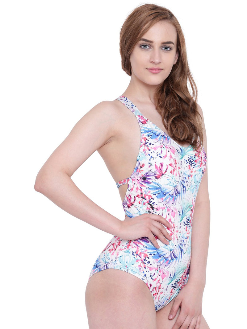 La Intimo BP-Leaves White Female Oceanfront Monokini Resort/Beach Wear Polyester Spandex Swimwear