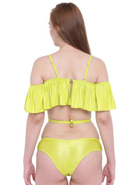 La Intimo Lime Punch Female Ruffle Buffle Bikini Resort/Beach Wear Polyester Spandex Swimwear