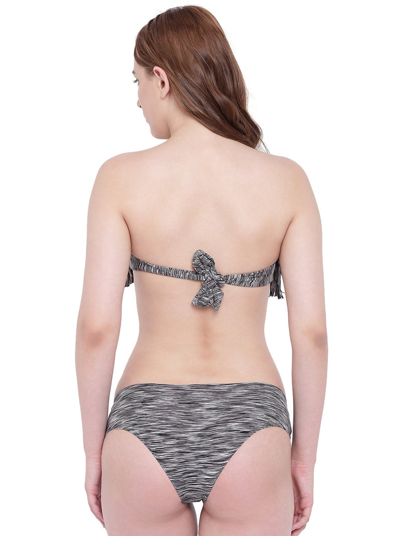 La Intimo Grey Black Melange Female  Bea Chick Bikini Resort/Beach Wear Polyester Spandex Swimwear