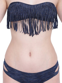 La Intimo Navy Blue Melange Female  Bea Chick Bikini Resort/Beach Wear Polyester Spandex Swimwear