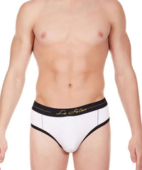 La Intimo White Men Window Cotton Modal Spandex Jockstrap