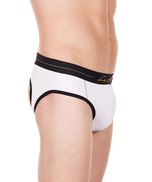 La Intimo White Men Window Gymwear Cotton Modal Spandex Jockstrap