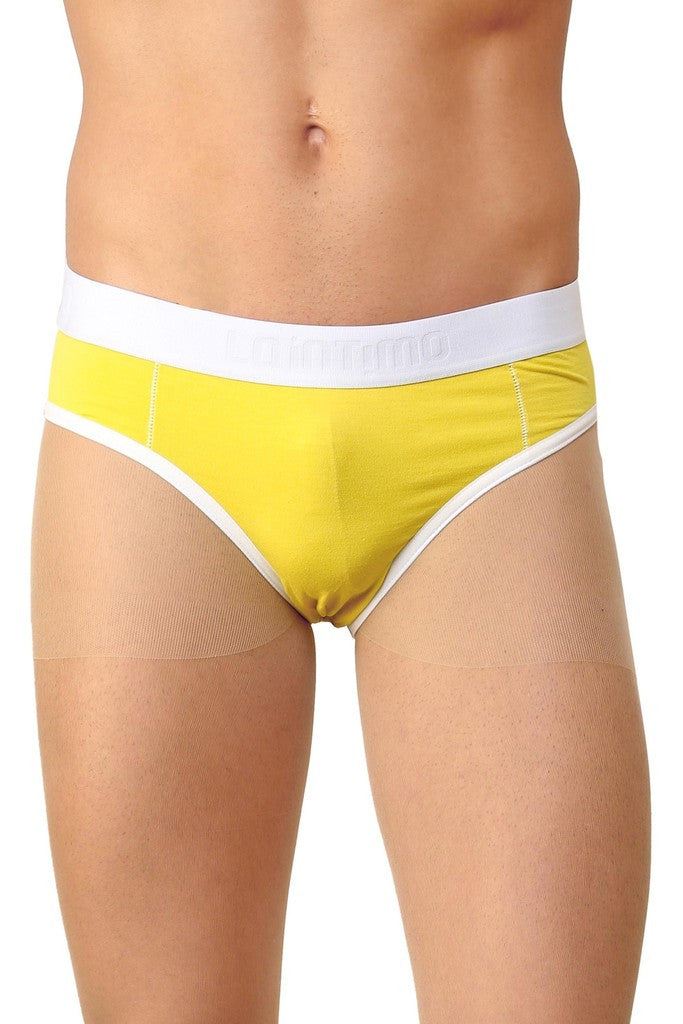 La Intimo Yellow Men Holiday Cotton Spandex Jockstrap