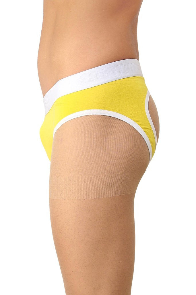 La Intimo Yellow Men Holiday Sportswear Cotton Spandex Jockstrap