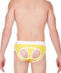 La Intimo Yellow Men Window Sportswear Cotton Modal Spandex Jockstrap