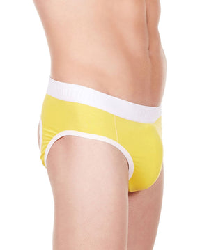 La Intimo Yellow Men Window Gymwear Cotton Modal Spandex Jockstrap