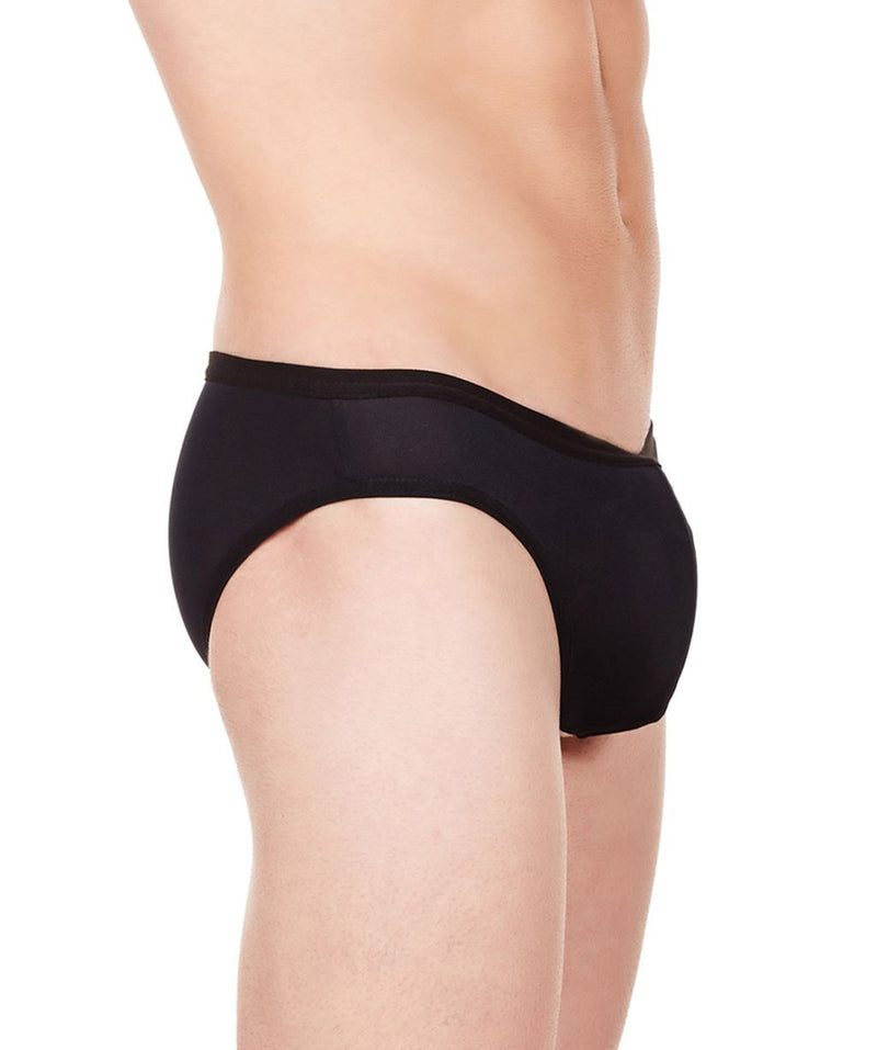 La Intimo Black Men Bikini Brief Polyester Spandex Briefs