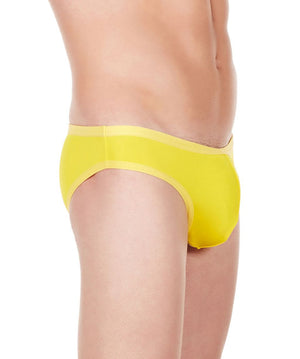 La Intimo Yellow Men Bikini Brief Polyester Spandex Briefs