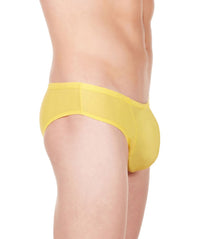 La Intimo Yellow Men Butt Minicheek Nylon Spandex Briefs
