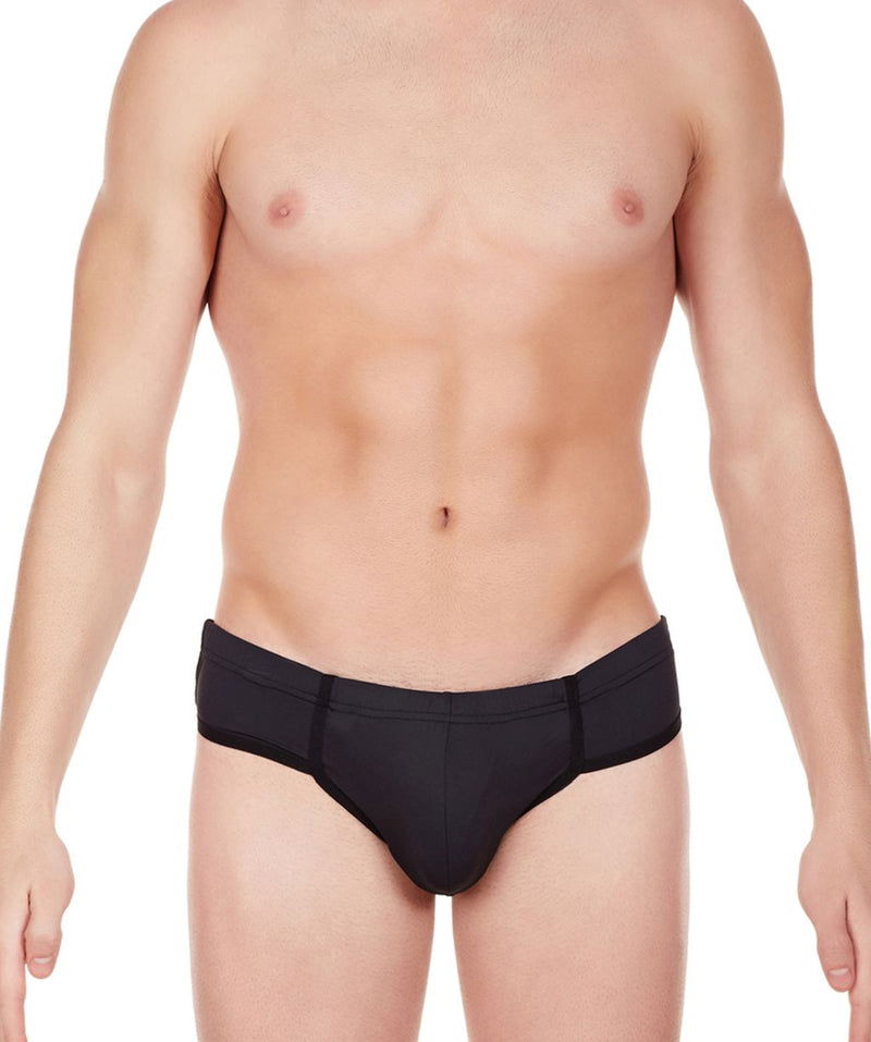 La Intimo Black Men Just Cut Minicheek Nylon Spandex Briefs