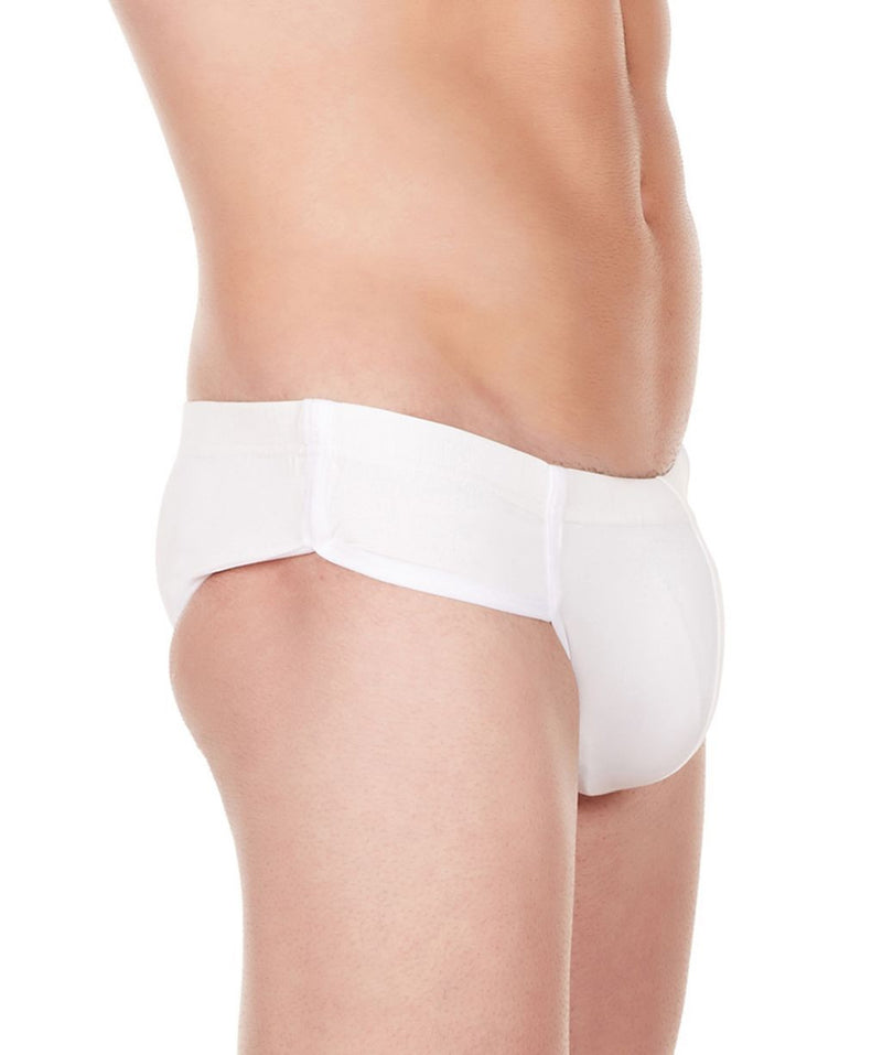 La Intimo White Men Bikini Minicheek Nylon Spandex Briefs