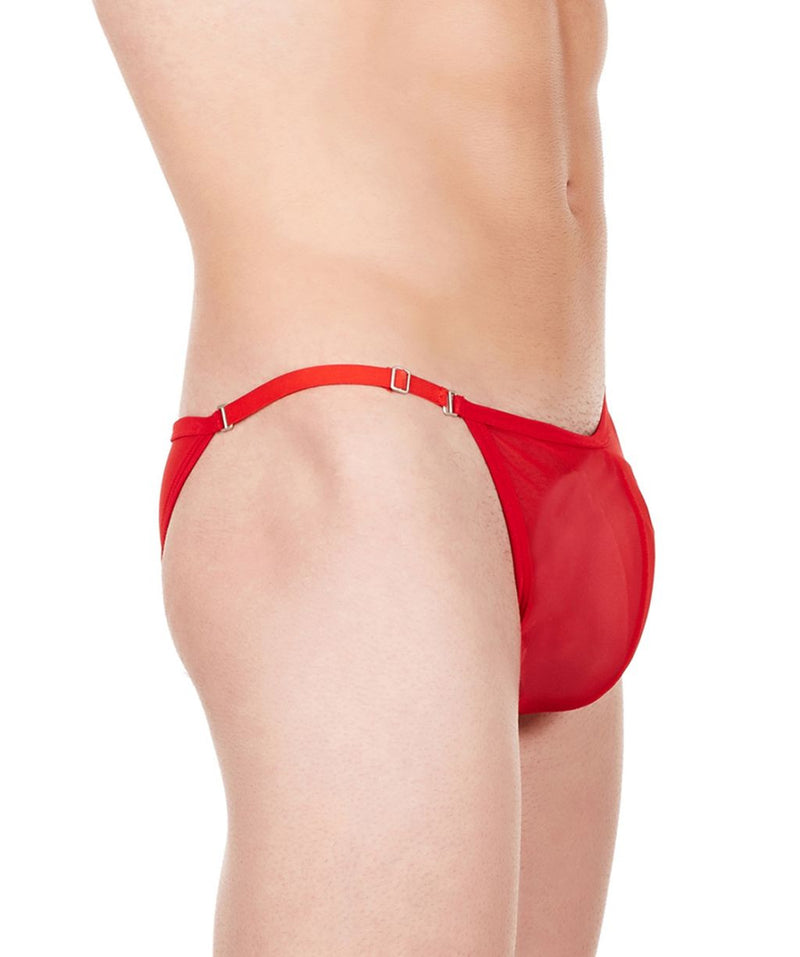 La Intimo Red Men Mesh Bikini Nylon Spandex Briefs