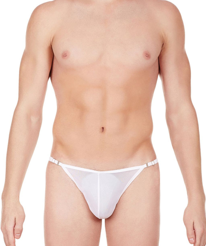 La Intimo White Men Mesh Bikini to Adjust Nylon Spandex Briefs