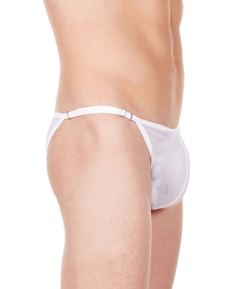 La Intimo White Men Mesh Bikini Nylon Spandex Briefs