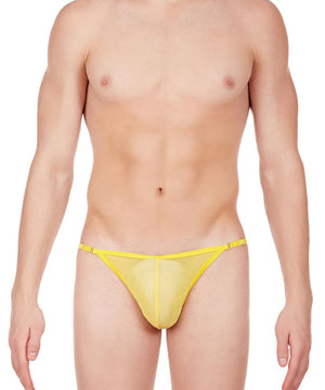 La Intimo Yellow Men Mesh Bikini to Adjust Nylon Spandex Briefs
