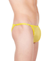 La Intimo Yellow Men Mesh Bikini Nylon Spandex Briefs