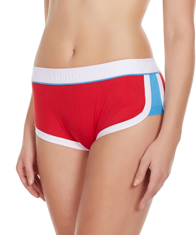 La Intimo Red Women Innerwear Retro Look Cotton Spandex Hipster