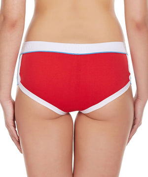 LaIntimo Red Female Innerwear Retro Look Cotton Spandex Hipster