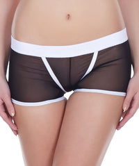 La Intimo Black Women Power Net Nylon Spandex BoyShort