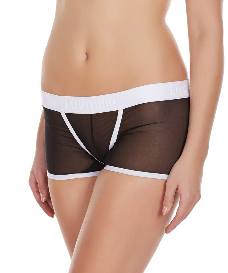 La Intimo Black Women Innerwear Power Net Nylon Spandex BoyShort