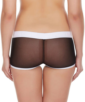 La Intimo Black Women Panty Power Net Nylon Spandex BoyShort