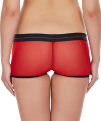 La Intimo Red Women Panty Power Net Nylon Spandex BoyShort