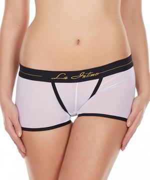 La Intimo White Women Power Net Nylon Spandex BoyShort