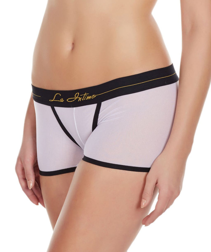 La Intimo White Women Innerwear Power Net Nylon Spandex BoyShort
