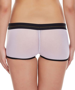 La Intimo White Women Panty Power Net Nylon Spandex BoyShort