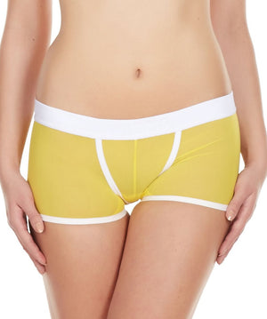 La Intimo Yellow Women Power Net Nylon Spandex BoyShort