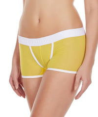 La Intimo Yellow Women Innerwear Power Net Nylon Spandex BoyShort