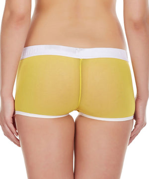 La Intimo Yellow Women Panty Power Net Nylon Spandex BoyShort