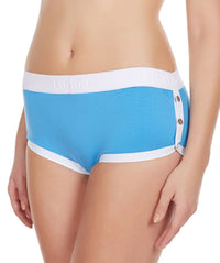 La Intimo Blue Women Greek Snap Button Cotton Spandex Hipster