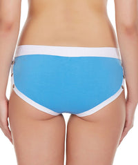 La Intimo Blue Women Greek Side Open Cotton Spandex Hipster