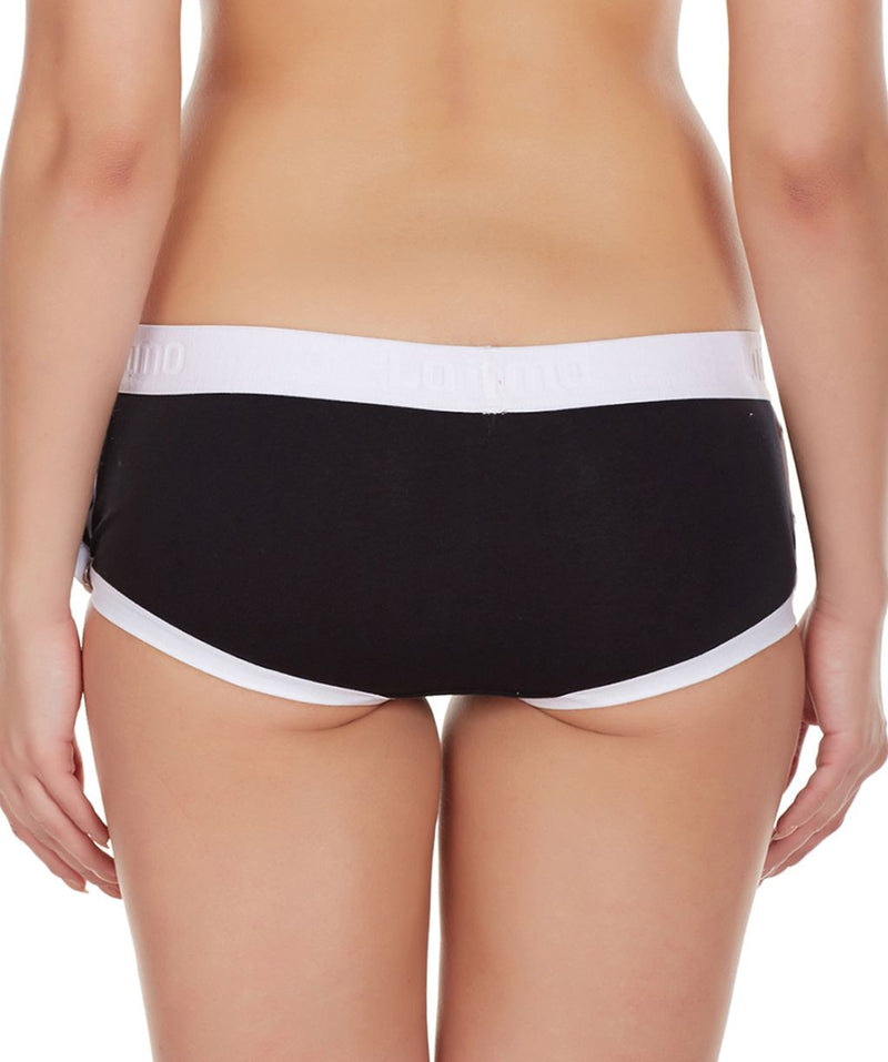 La Intimo Black Women Greek Side Open Cotton Spandex Hipster