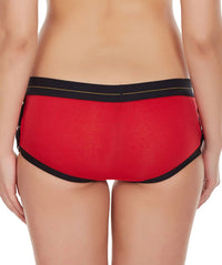 La Intimo Red Women Greek Side Open Cotton Spandex Hipster