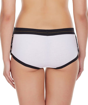 La Intimo White Women Greek Side Open Cotton Spandex Hipster