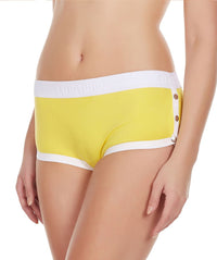 La Intimo Yellow Women Greek Snap Button Cotton Spandex Hipster