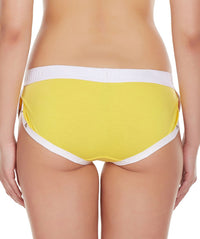 La Intimo Yellow Women Greek Side Open Cotton Spandex Hipster