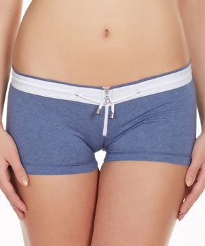 La Intimo Blue Women Zipper Drawstring Cotton Spandex BoyShort