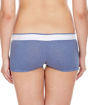 La Intimo Blue Women Zip Cotton Milange Spandex BoyShort