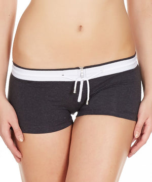 La Intimo Charcoal Women Zipper Drawstring Cotton Spandex BoyShort