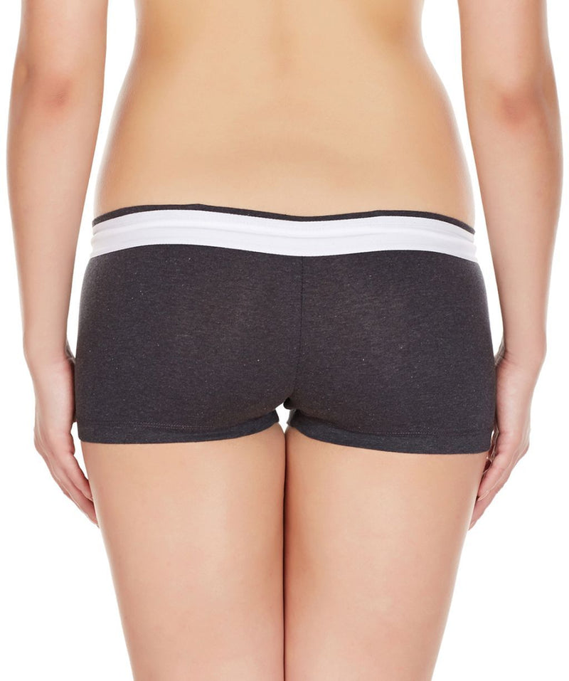 La Intimo Charcoal Women Zip Cotton Milange Spandex BoyShort