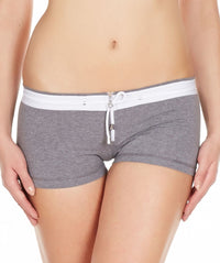 La Intimo Grey Women Zipper Drawstring Cotton Spandex BoyShort