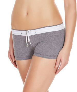 La Intimo Grey Women YKK Zip Cotton Spandex BoyShort