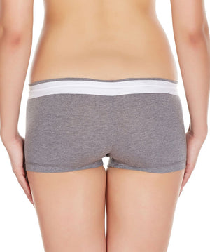La Intimo Grey Women Zip Cotton Milange Spandex BoyShort